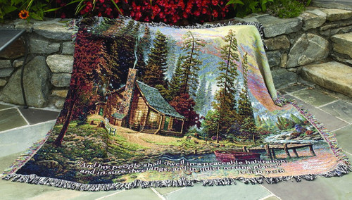 Thomas Kinkade A Peaceful Retreat Throw w/ Verse