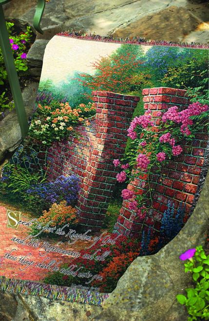 Thomas Kinkade Rose Garden Tapestry Throw