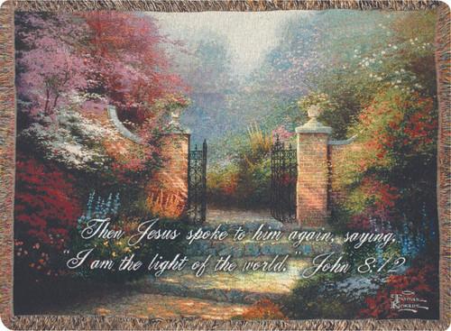 Thomas Kinkade Victorian Garden Tapestry Throw with Verse