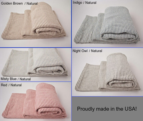 Queen Ticking Stripe Cotton Blanket with Natural Background