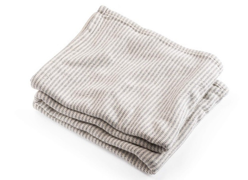 Ticking Stripe Cotton Blanket With Slate Natural Background