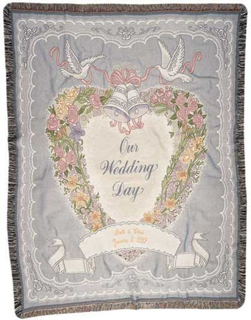 Our Wedding Day Cotton Tapestry Throw