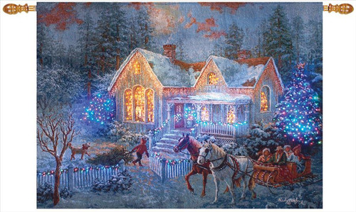 Welcome Home Christmas Fiber Optic Lighted Wall Hanging