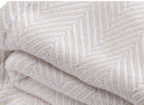 White and Natural Cotton Madison Queen Bed Blanket closeup