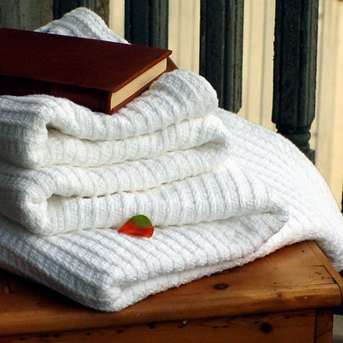 White Bethel Ribbed Cotton Luxury Blanket Bed Queen