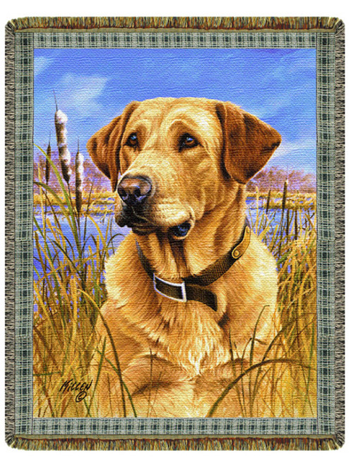 Yellow Lab Tapestry Throw by Jim Killen