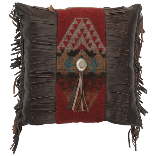 Yellowstone III Fringe Leather and Fabric Pillow