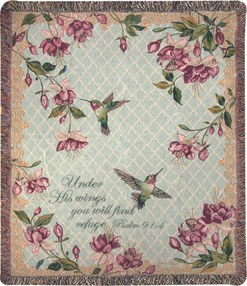 Rubys Among the Fuchsias with Verse Tapestry Throw