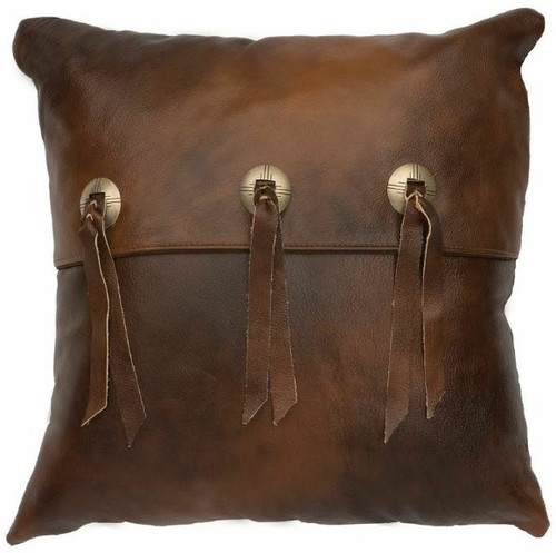 Harness Brown Leather Pillow