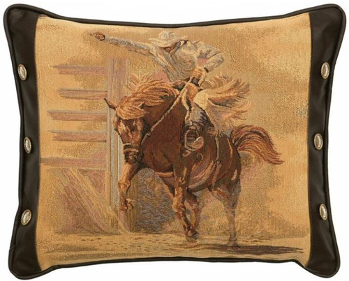 Bronc Rider Fabric and Mesa Espresso Leather pillow