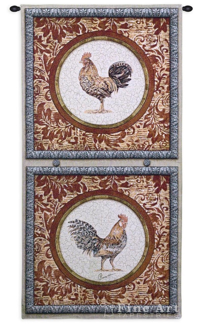 Plumage I Rooster Wall Tapestry 4012-WH