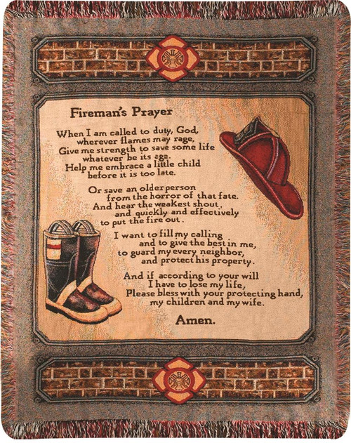 All Fired Up Fireman's Prayer Tapestry Throw