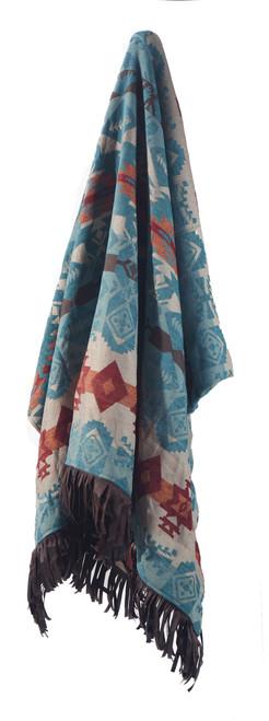 Turquoise Chamarro Throw Blanket with Fringe
