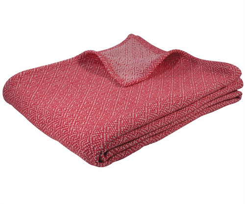 Greek Key Cotton Throw Coral