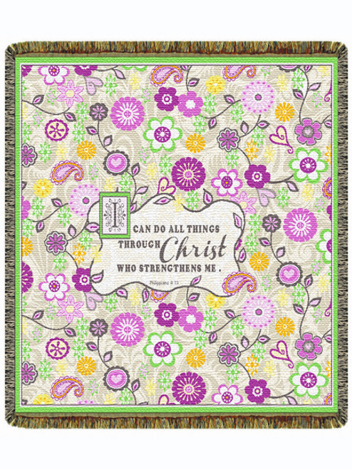 """I Can Do All Things 60"""" Tapestry Throw Blanket (52x60 Inches)"""