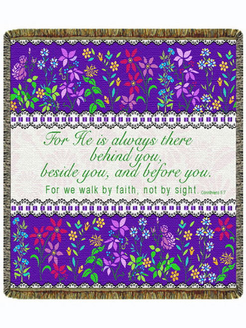 "Walk By Faith 60"" Tapestry Throw Blanket (52x60 Inches)"