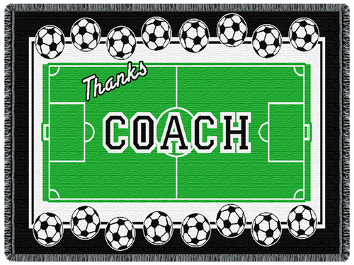 Coal - Soccer 2 Layer Throw Blanket (68x48 Inches)