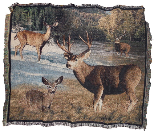 Lodge Mule Deer Tapestry Throw Blanket 7161TU4