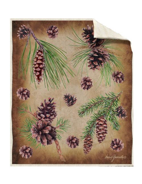 Sherpa Pine Cones Silk Touch Throw Blanket