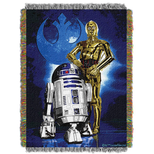 """Star Wars """"Driod Blues"""" Woven Tapestry Throw Blanket"""