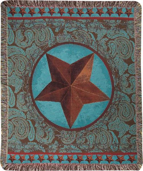 Western Star Red Tapestry Throw Blanket