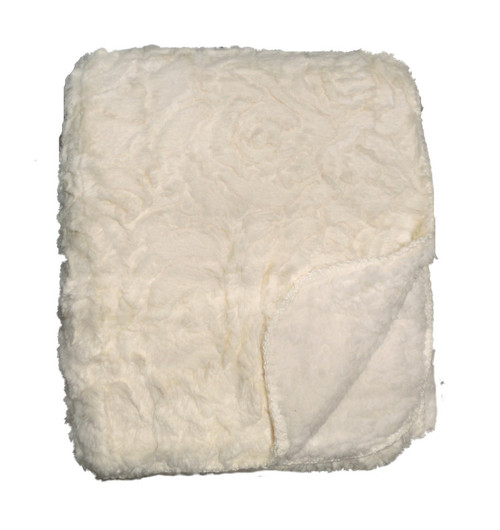 Rose Ivory Sherpa Throw Blanket