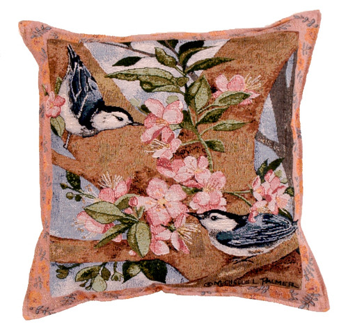 Nuthatch Pair Throw Pillow