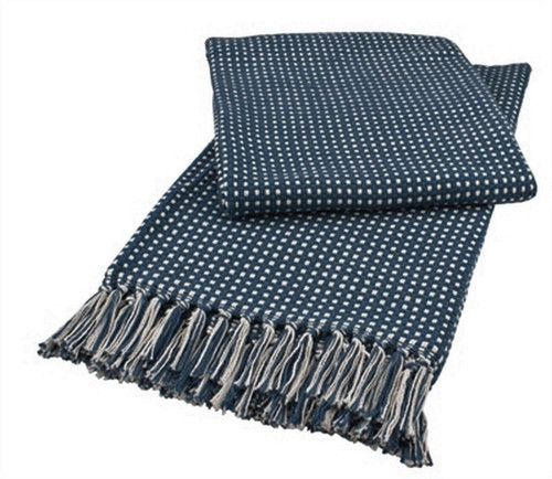 Navy and Cream Woven Cotton Throw From Split-P