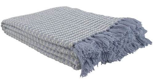 Blue Lattice Woven Cotton Throw Blanket