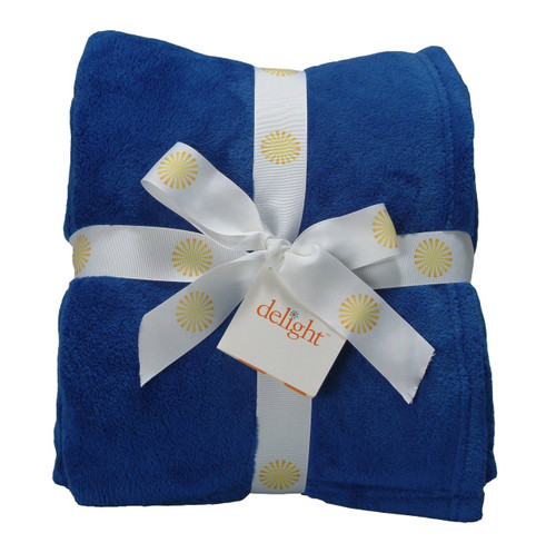 Delight Coral Fleece Throw Blanket Royal Blue
