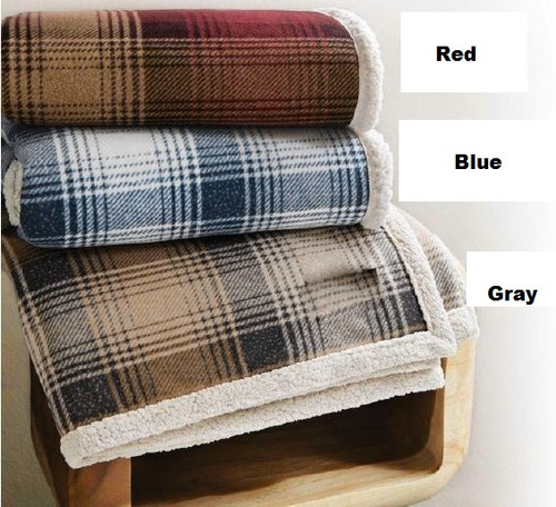 Cottage Plaid Faux Lambswool Throw - Gray