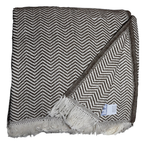 Amana Herringbone Brown Cotton Throw Blanket