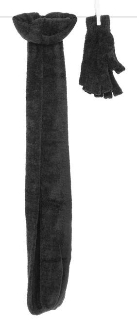 Dolce Omega Scarf and Fingerless Glove Set - Onyx Black