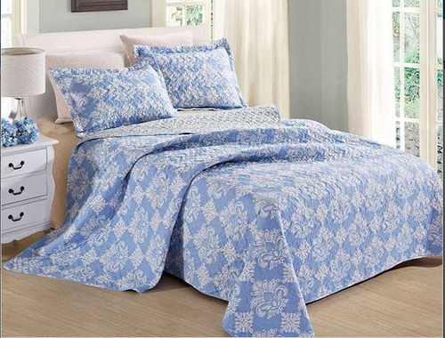 Serena Blue Quilt Set King