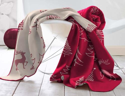 Biederlack Alpine Collection Forest Red Blanket