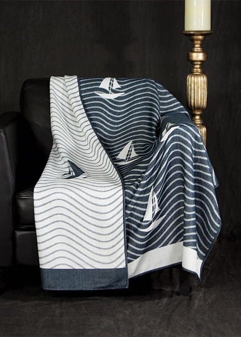 Latitude Navy Throw Blanket by Bedford Cottage