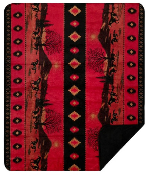 Denali Red Running Horses/Black Throw Blanket