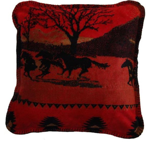 Red Running Horses/Black #615 18x18 Inch Throw Pillow