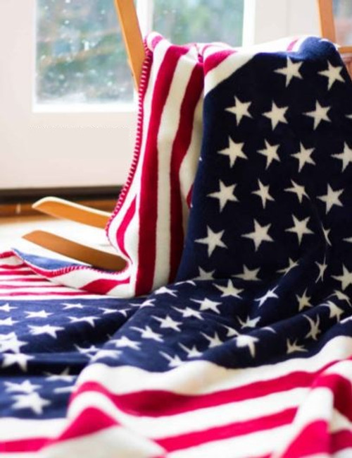 Red White & Blue/Lapis #423 60x70 Inch Throw Blanket