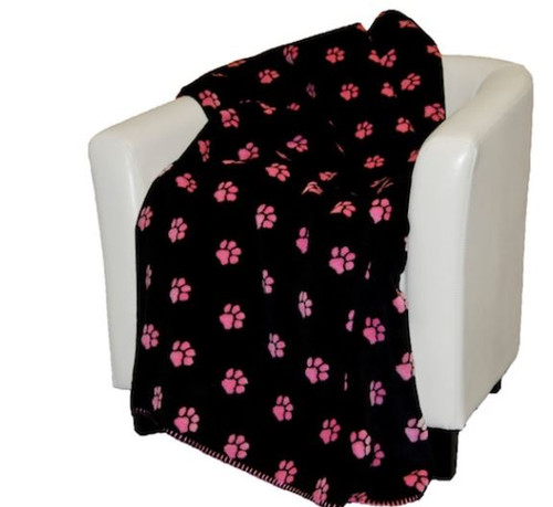 Paw Prints Pink/Black #673 50x60 Inch Throw Blanket