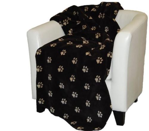 Paw Prints Stone/Chocolate #209 60x70 Inch Throw Blanket