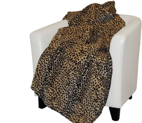 Leopard/Chocolate #819 60x70 Inch Throw Blanket