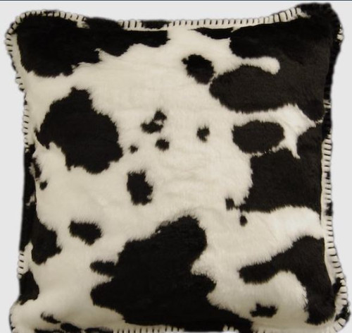 Black Cow/Black #131 18x18 Inch Throw Pillow