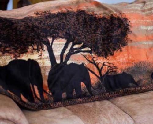 Sunset Elephants/Chocolate #851 60x70 Inch Throw Blanket