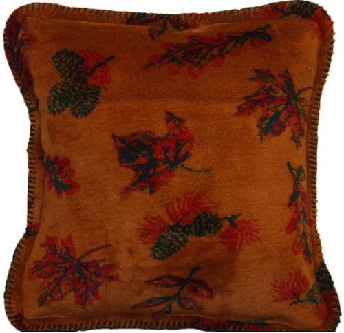 Falling Leaves/Pine #913 18x18 Inch Throw Pillow