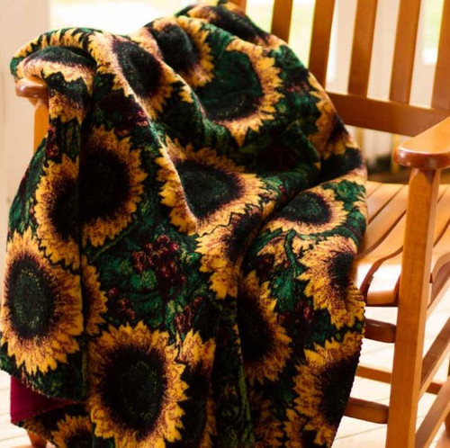 Sunflowers/Merlot #807 60x70 Inch Throw Blanket