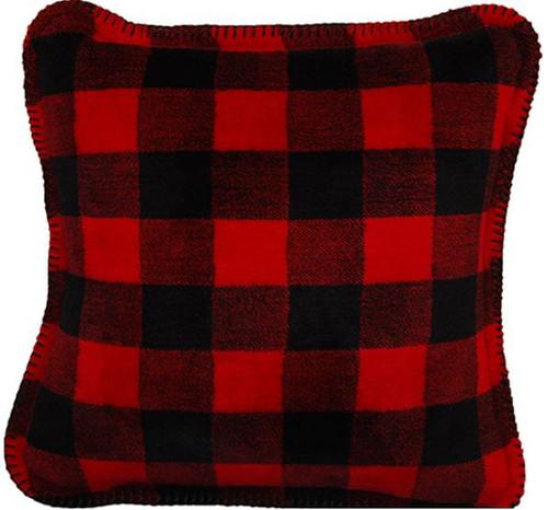 Large Bunk House Plaid/Black #937 18x18 Inch Throw Pillow