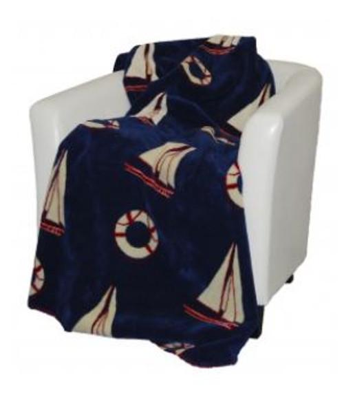 Atlantic Blue Sailboats/Garnet #426 50x60 Inch Throw Blanket