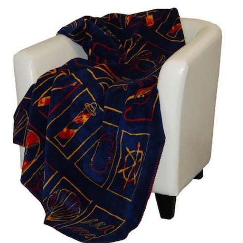 Nautical Flair/Garnet #463 60x70 Inch Throw Blanket