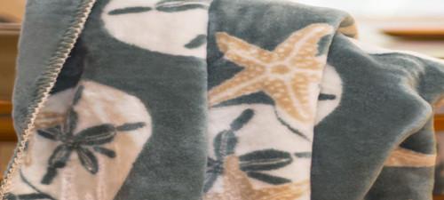 Starfish and Sand Dollars/Light Marine #175 60x70 Inch Throw Blanket